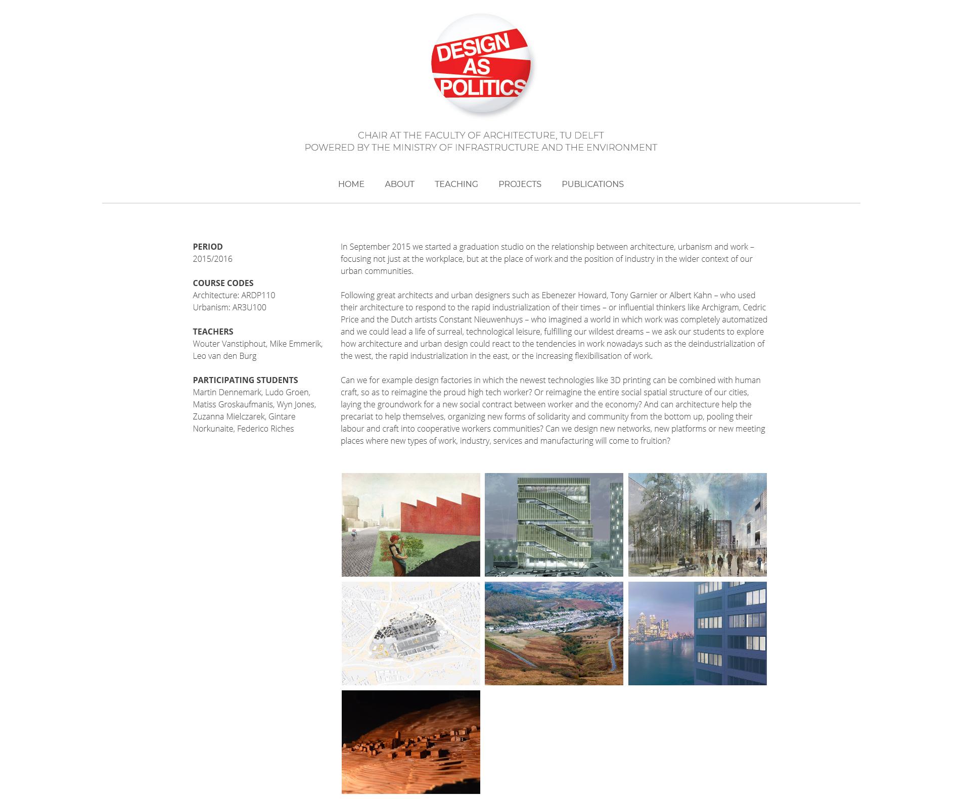 Pagina van een afstudeerstudio op de website van Design as Politics