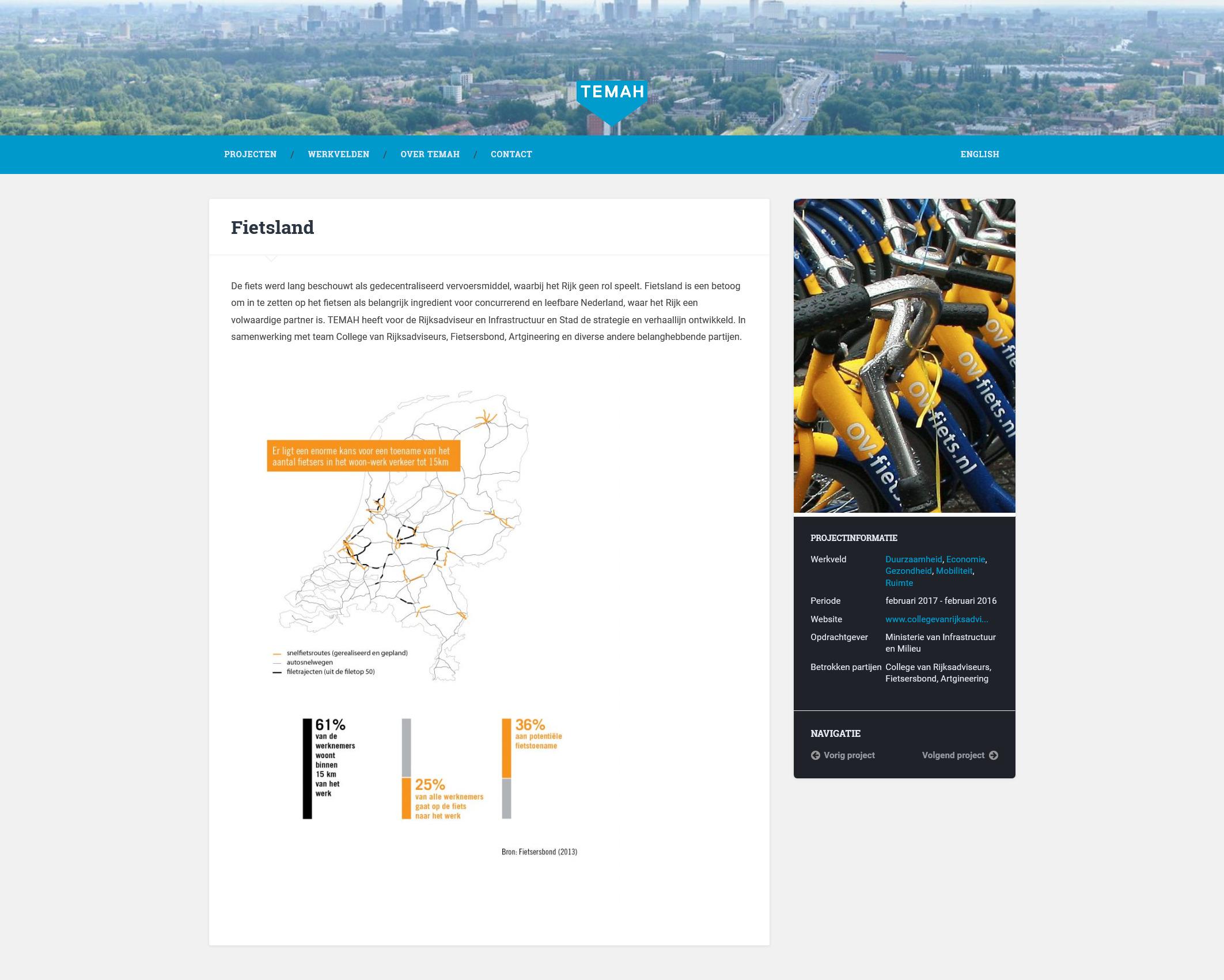 Projectpagina op de website van TEMAH