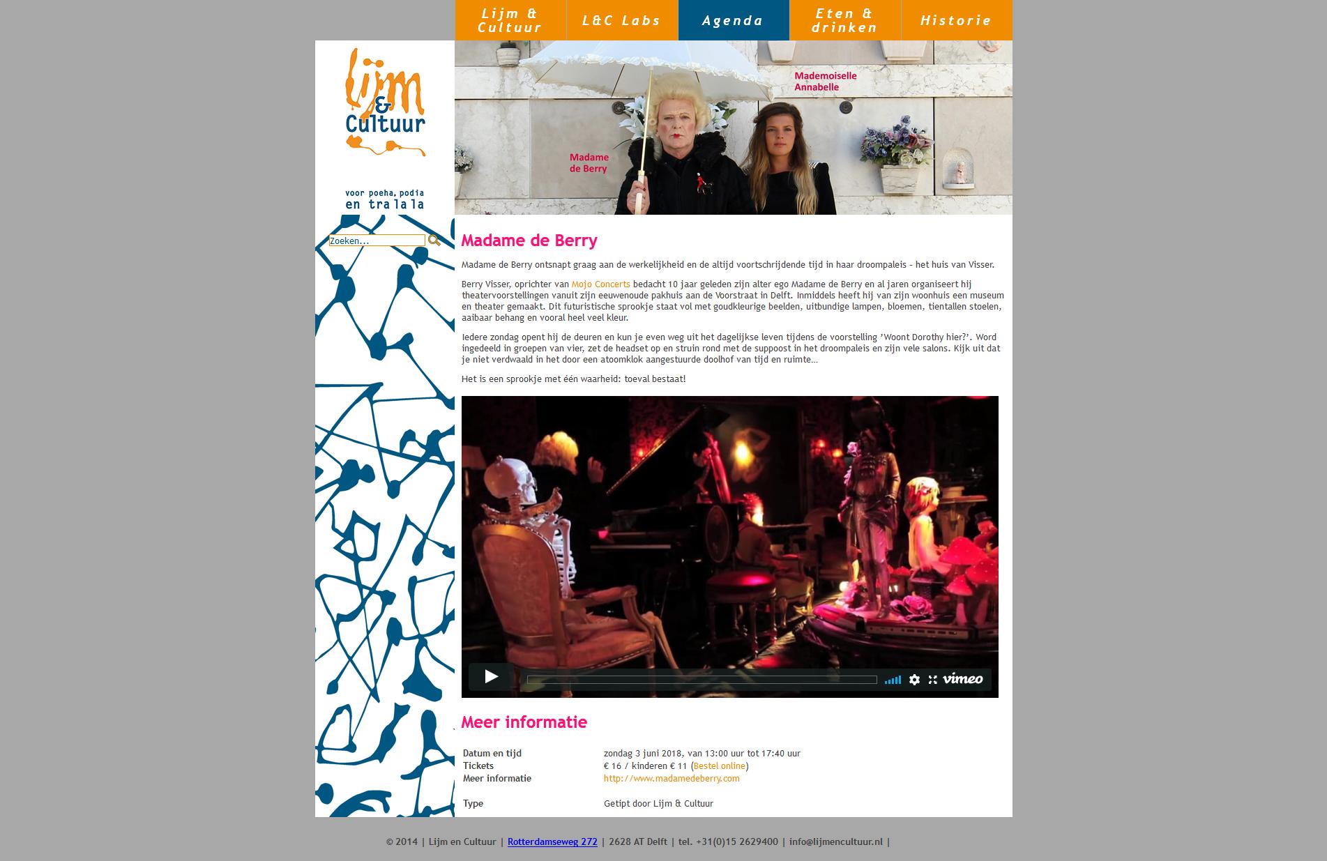Activiteitpagina op de website van Lijm & Cultuur