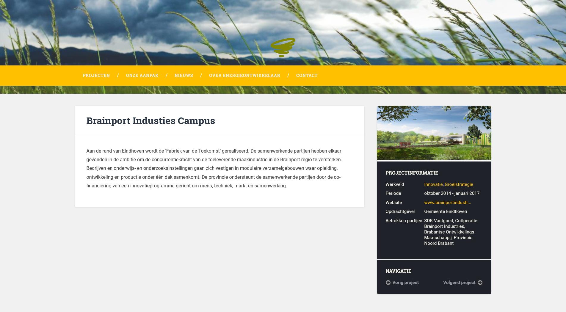 Projectpagina op de website van EnergieOntwikkelaar
